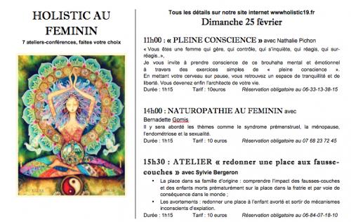 programme du centre holistic de Brive,ateliers du féminin
